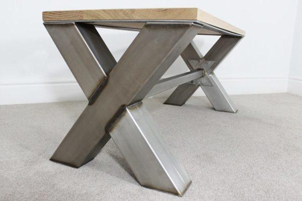 x frame vintage coffee table
