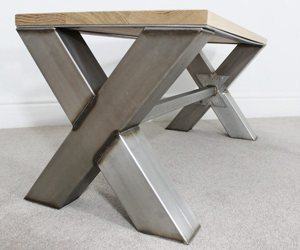Mild Steel Coffee Table: X Frame Industrial Coffee Table