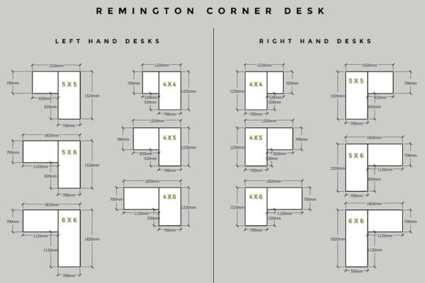industrial corner desk sizes