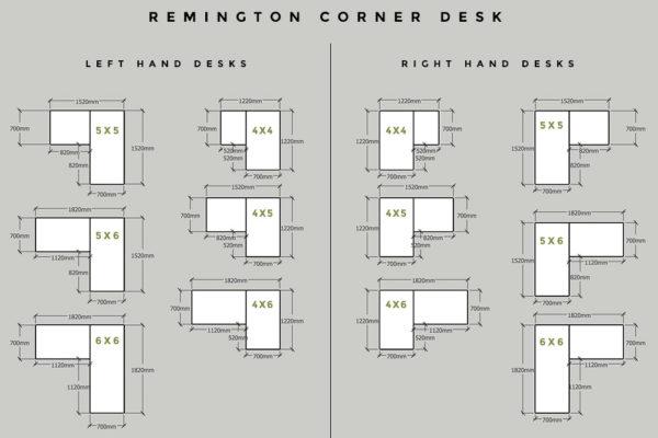 industrial corner desk sizes