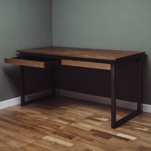 industrial desk with 2 drawers