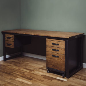 industrial desk with 2 drawers and filing cabinet