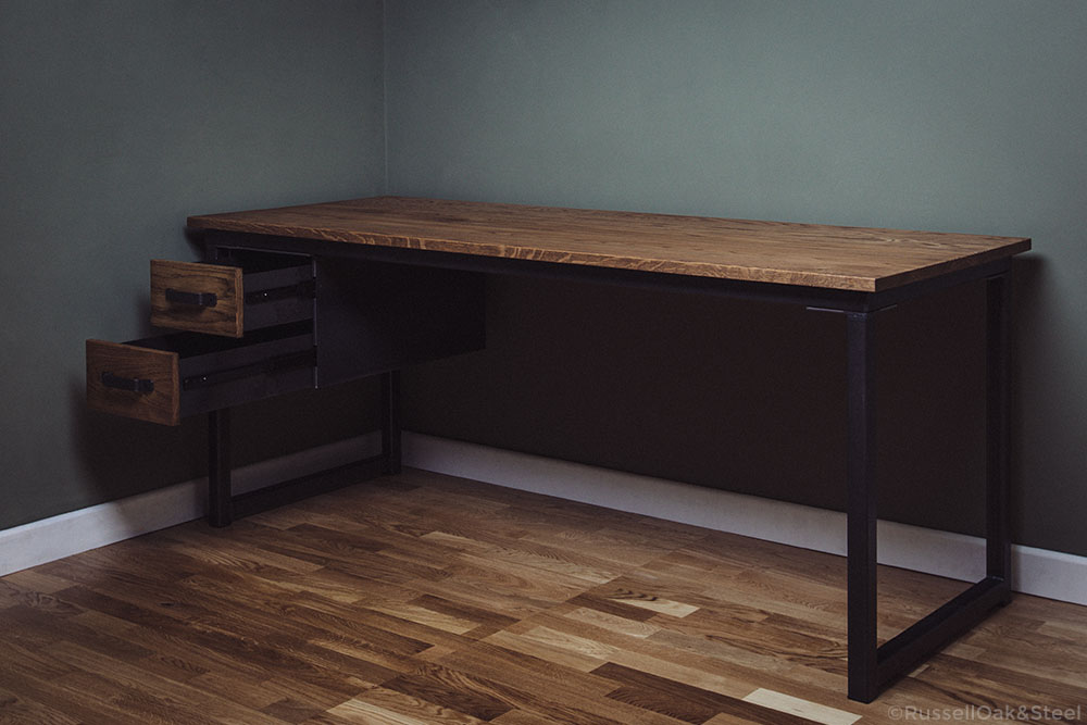 industrial desk with 2 single drawers