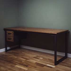 industrial desk with double drawers