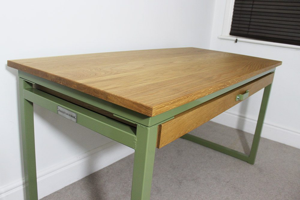 industrial desk with long drawer