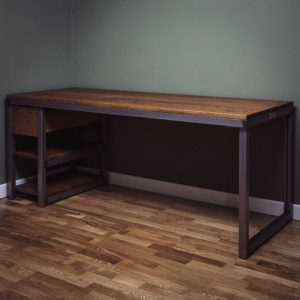 industrial oak desk with a drawer and shelves