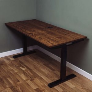 industrial oak desk with electrical adjustable height