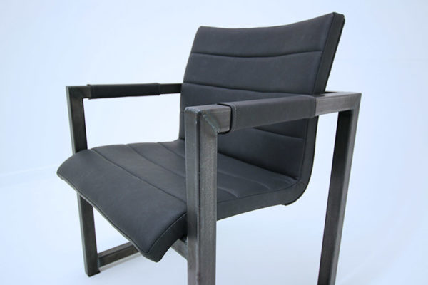leather and steel office chair