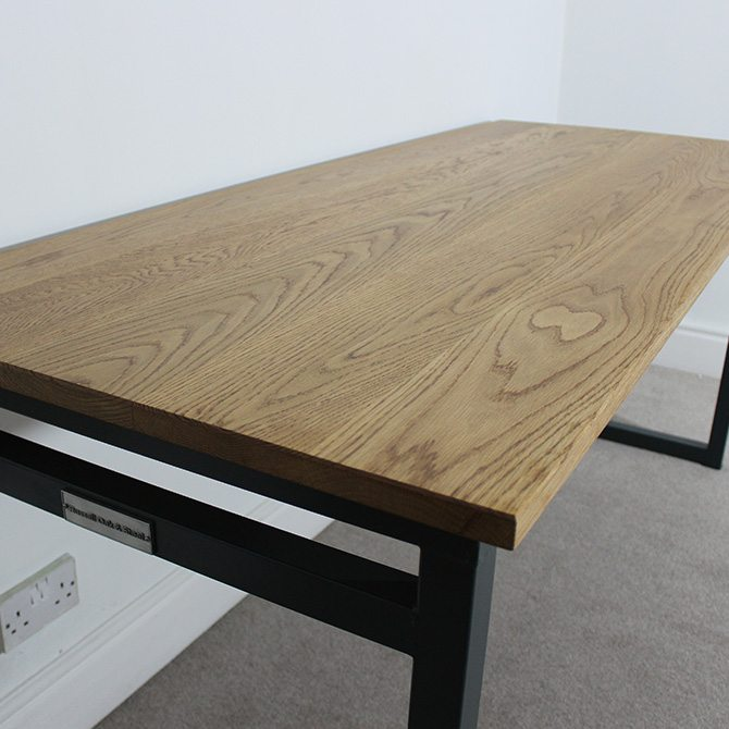 medium oak industrial desk