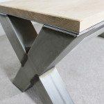 metal and wood x frame coffee table