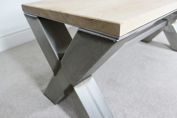 metal and wood x frame coffee table