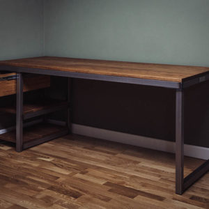 metal desk with drawer and shelves