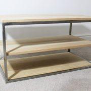 oak vintage industrial tv table