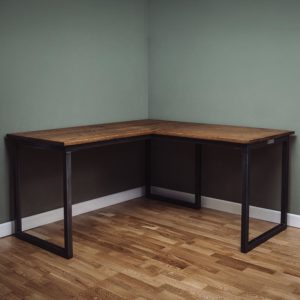 oak industrial corner desks