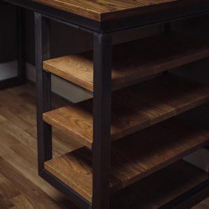 oak industrial corner desks