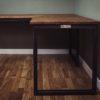 oak industrial vintage corner desks