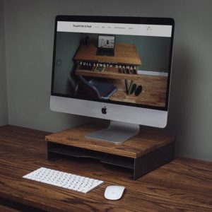 oak laptop monitor screen stand