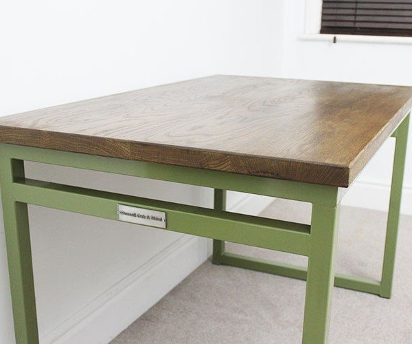 olive green industrial desk