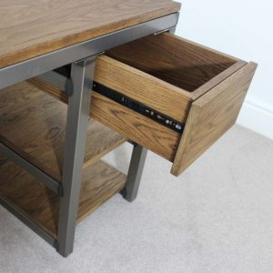 vintage industrial desk with drawer