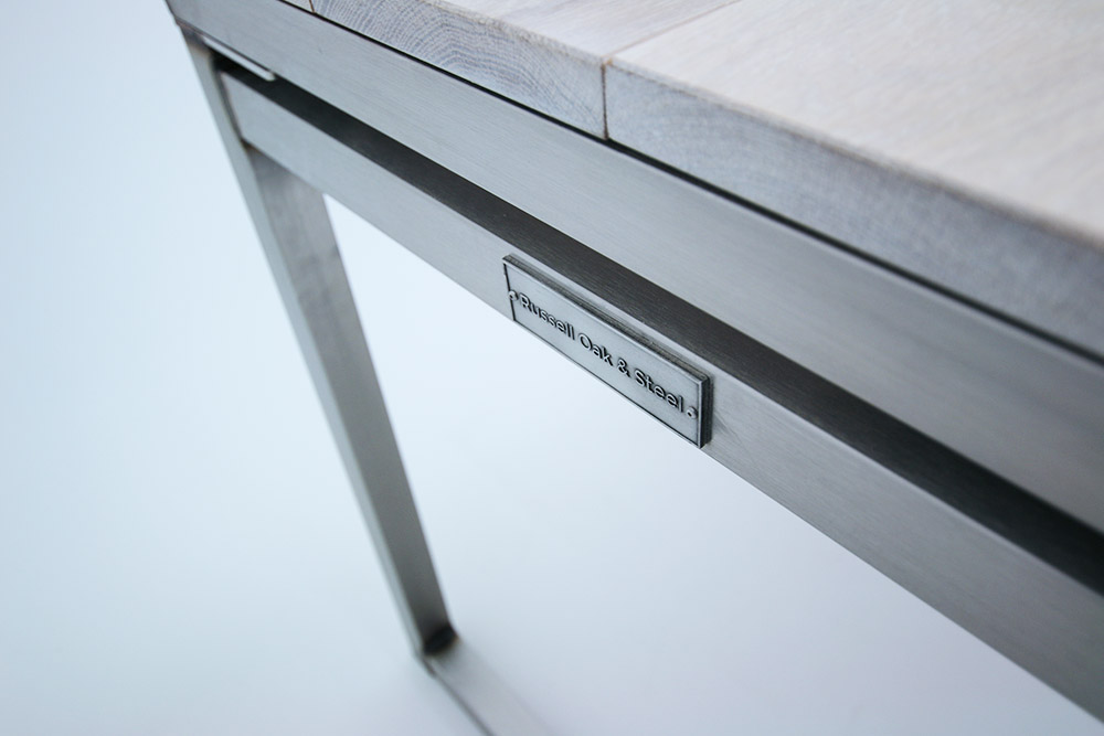 stainless steel oak industrial desk