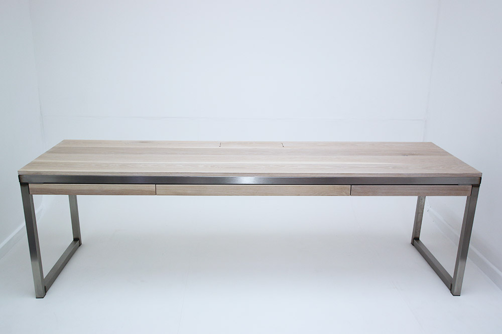 stainless steel oak vintage office desk