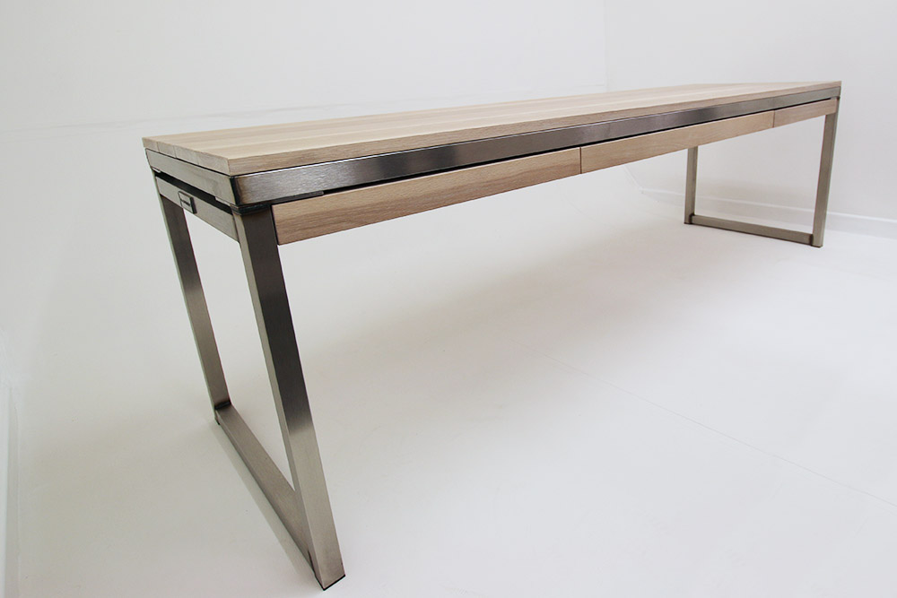 stainless steel white oak industrial desks