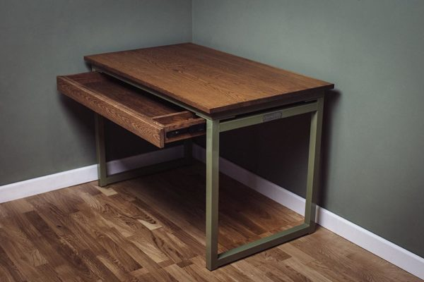 vintage industrial desk with under desk drawer