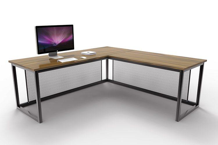 Otis Industrial Corner Desk Russell Oak And Steel Ltd