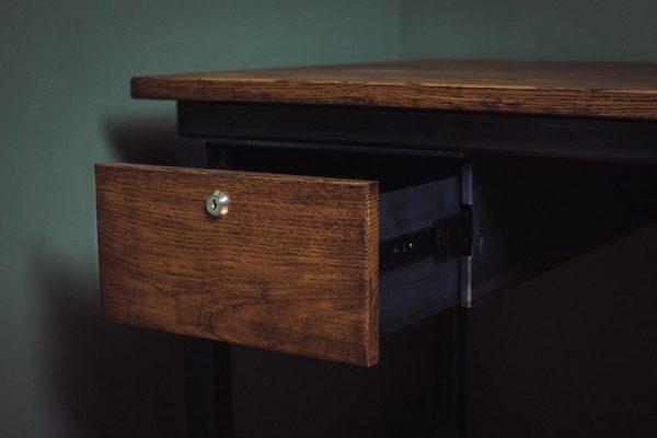 vintage industrial oak and steel drawers