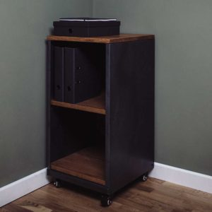vintage oak metal 2 shelf storage