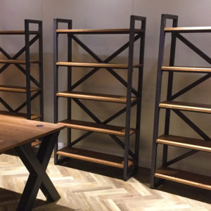 x frame bookcase metal
