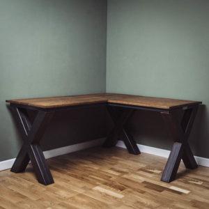 x frame industrial corner desk