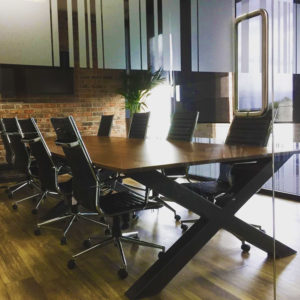 x frame industrial vintage meeting table