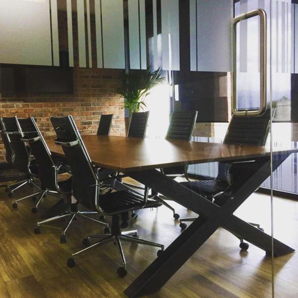 x frame industrial vintage meeting table